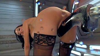 Mulher nua quente repleta de tesão transando com máquina do sexo